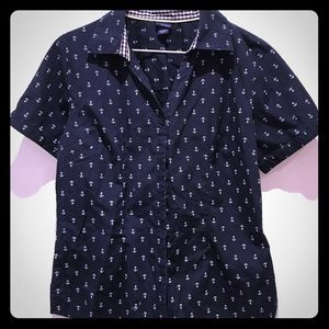 Navy anchor button down top size S